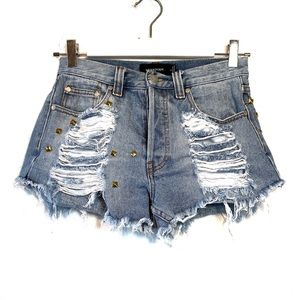 MINKPINK Studded Destroyed Cut Off Jean Shorts S